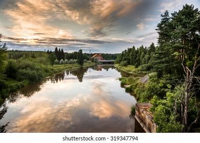 Sunset river lanscape in Helsinki on summer evening