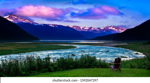 Sunset with River and Mountains in Haines, Alaska