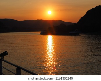 sunset at  the river rhine from a ship