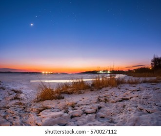 sunset river winter snow moon