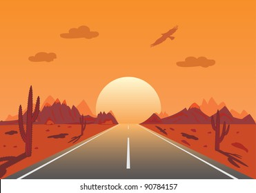 Sunset Road in mexican desert,illustration