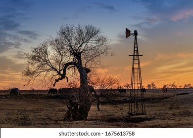 Sunset Roadside Scene in Oklahoma