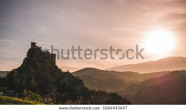 Sunset at Roccascalegna Castle, Italy