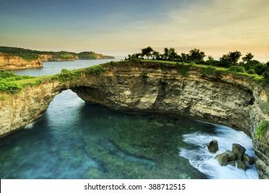 Sunset Rocks Location Pasih Uwug Beach island Nusa Penida  Bali Indonesia