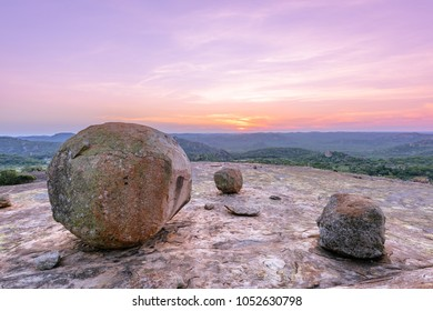 Sunset rocks from top of the world, Matopos national park Zimbabwe, Africa. Beautiful rocks and tree on mountains