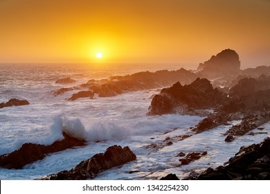 Sunset at rocky coast, in tsitsikama south africa