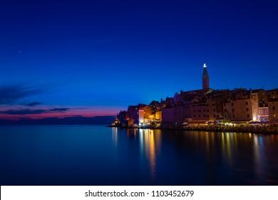 sunset in rovinj at croatia