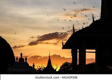 Sunset at Royal Palace in Phnom Penh