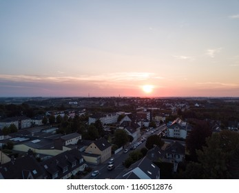 Sunset in the Ruhr pot germany, drone shot