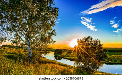 Sunset rural river panoramic landscape