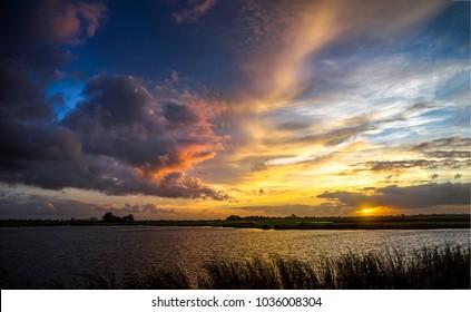 Sunset rural river sky landscape