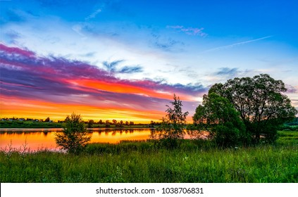 Sunset rural river summer landscape
