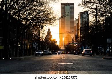 Sunset at rush hour in Deep Ellum, Dallas Texas