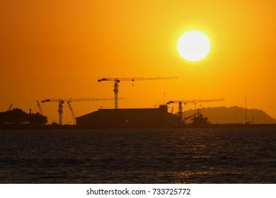 Sunset at Sabah port near to Kota Kinabalu city, Sabah, Borneo