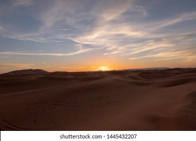 Sunset at Sahara Desert Morocco Africa