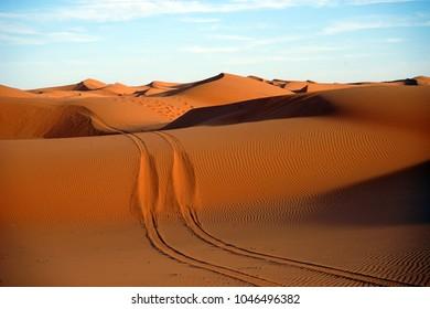 Sunset in Sahara desert near Merzuga village, Morocco
