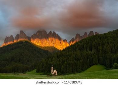Sunset at Saint John's Church in the Val Di Funes