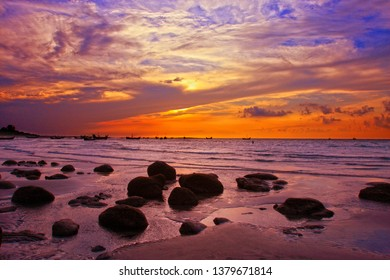 Sunset at Saint Martin's Island.The Saint Martin's Island, locally known as Narkel Jinjira, is the only coral island and one of the most famous tourist spots of Bangladesh.