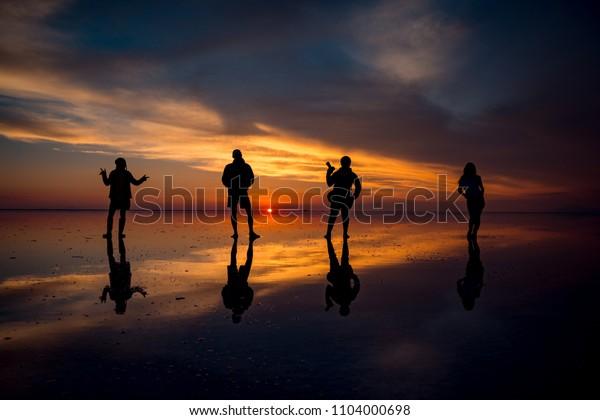 Sunset Salar De Uyuni Bolivia Stock Photo Edit Now 1104000698
