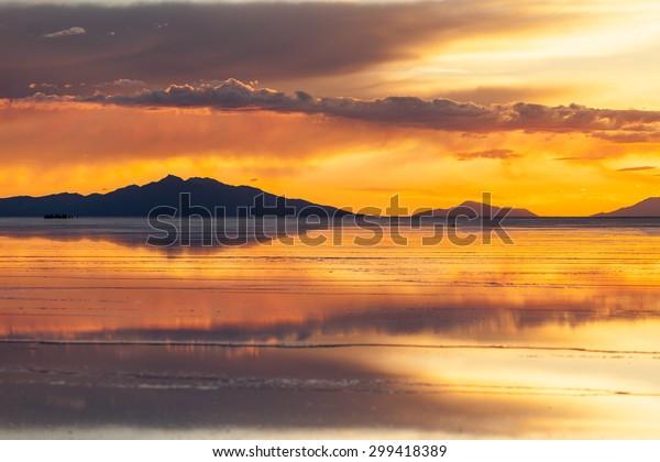 Sunset Salar De Uyuni Reflection Clouds Stock Photo Edit