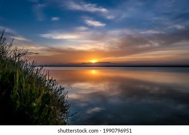 Sunset in the Salinas de Santa Pola  - Shutterstock ID 1990796951