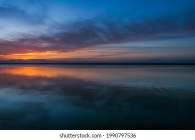 Sunset in the Salinas de Santa Pola  - Shutterstock ID 1990797536