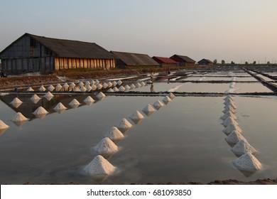 Sunset in salt marsh Kampot Cambodia