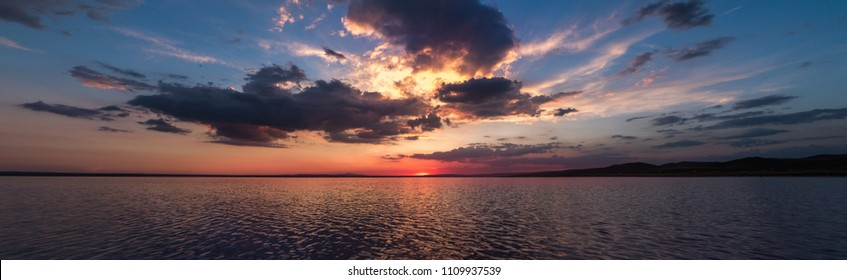 Sunset in Salt Tea with dramatic sky panorama
