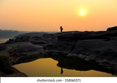 Sunset at Sam Pan Bok (Grand Canyon of Thailand), Ubon Ratchathani, Thailand