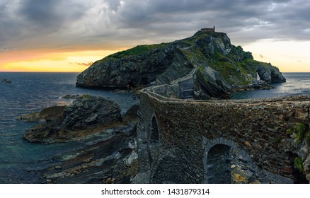 Sunset at San Juan de Gaztelugatxe island at basque country, Spain