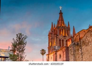 Sunset at San Miguel de Allende Parroquia Archangel church