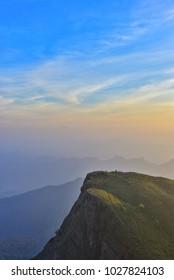 "Sunset at ""SAN NOK WUA"" Khao Laem National Park, beautiful from the highest peaks of the mountains,  Kanchanaburi, Thailand. SAN NOK WUA is highest mountain in Kanchanaburi."