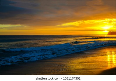 Sunset sand beach horizon landscape