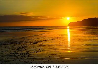 Sunset sand beach landscape