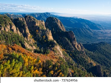 Sunset from Sandia Peak in the Cibola National Forest  panoramic view of the Rio Grande Valley and the Land of Enchantment. Located east of Albuquerque in the Sandia Foothills . New Mexico