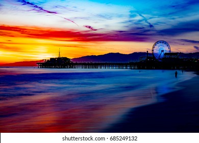Sunset of Santa Monica Beach