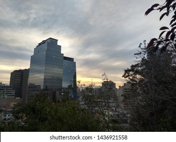 Sunset in Santiago City, Chile