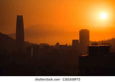 Sunset at Santiago de Chile