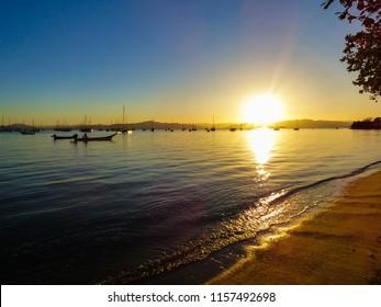 Sunset in Santo Antonio de Lisboa, fishermen village in Florianopolis - Brazil