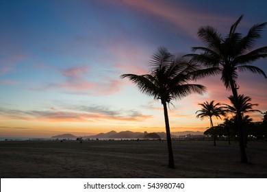 Sunset in Santos Beach, Brazil.