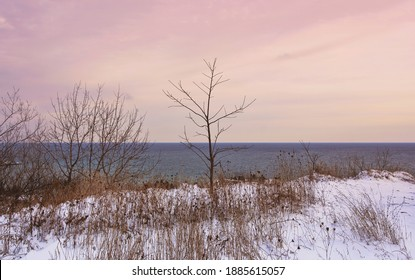 A sunset at Scarborough Bluffs in Toronto as seen from the park above. Taken in winter after a substantial snowfall.