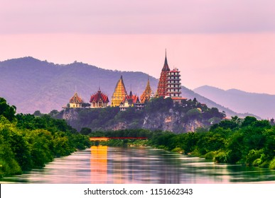 Sunset scence at Tiger Cave Temple (Wat Tham Sua), Kanchanaburi Province, Thailand