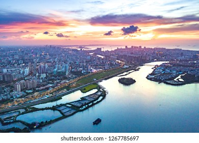 Sunset Scene above Nandu River towards Downtown Haikou City, Haidian Island and Xinbu Island, Hainan Province, China