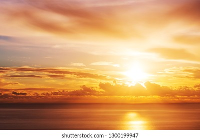 Sunset scene above sea