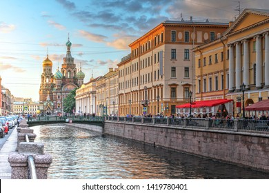 Sunset scene along the Griboedova Canal with Church on Spilled Blood (or Resurrection Church of Our Saviour) in St Petersburg, Russia