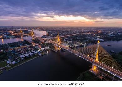 Sunset Scene at Bhumibol Bridge in Bangkok