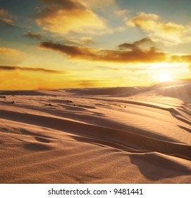 Sunset scene in desert