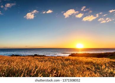 Sunset scene from Kaena Point on the west coast of Oahu, Hawaii near the seagull sanctuary