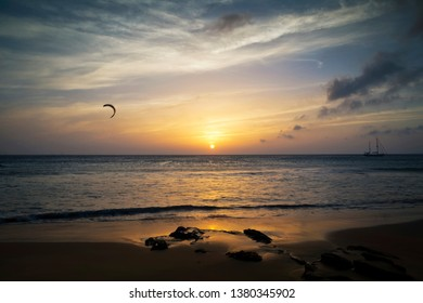 Sunset scene at Los Lances Beach, Tarifa, Cadiz, Andalusia, Spain