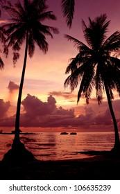 Sunset scene on the sea